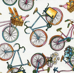 Tossed Bicycles Cotton Fabric