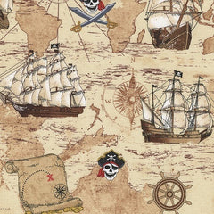 Pirate Map Fabric Sand