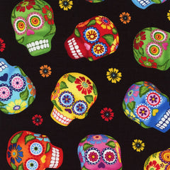 Sugar Skulls Halloween Fabric Remnant