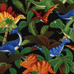 Stacked Dinosaurs Black Cotton Fabric Remnant
