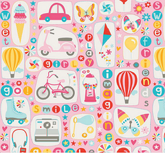 Girl Crazy Pink Cotton Fabric Bikes & Scooters 1/2 Mtr
