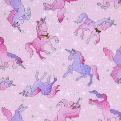 Unicorn Cotton Fabric Pink, Silver Small Fault