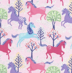 Glitter Horses Pink Cotton Fabric Remnant