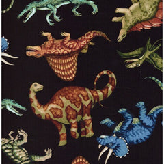Jurassic Jungle Dinosaurs Black Fabric Remanant