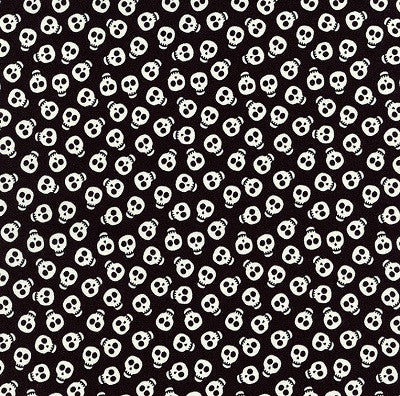 Halloween Fabric Mini Skulls Glow in the Dark