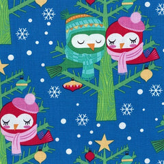 Christmas Fabric Lovebirds Blue