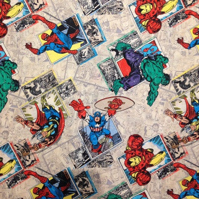 Marvel Retro Badges Fabric