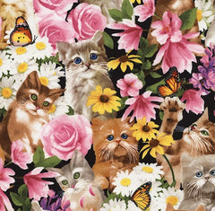 Kitten Floral Fabric Pink Remnant