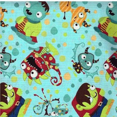 Monster Mash Children's Cotton Fabric  Remnant
