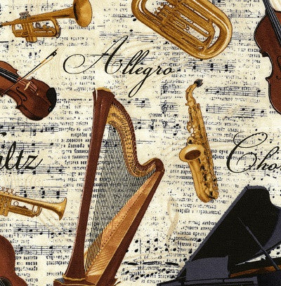 Musical Instruments Cotton Fabric