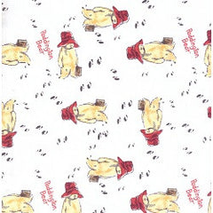 Paddington Bear Fabric White Wandering