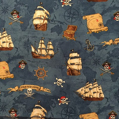 Pirate Map Fabric Blue