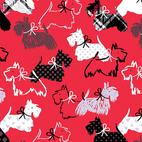 Red Scottie Dog Fabric