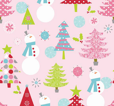 Riley Blake Christmas Basics Trees Pink