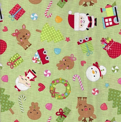 Christmas Fabric Santa Express Green
