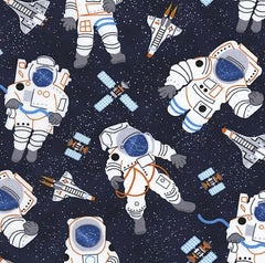 Astronauts Navy Cotton Fabric