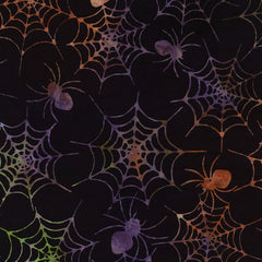 Halloween Spider's Web Fabric Tonga Batik
