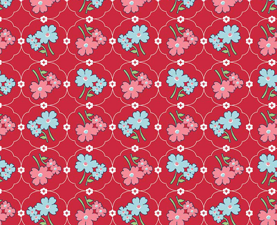 Vintage Happy Red Flowers 1/2 Metre