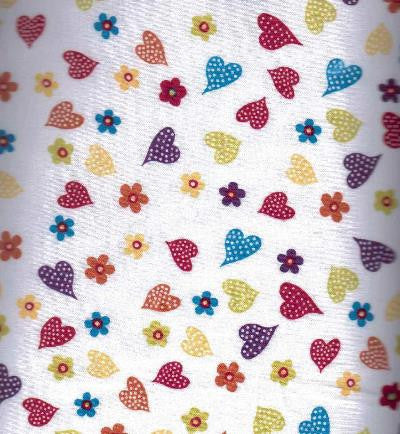 White Cotton Heart Fabric Children 1/2 Metre