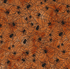 Halloween Fabric Wicked Orange Spider Webs