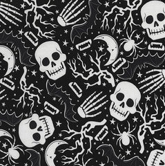 Halloween Fabric Glow Skulls and Spiders