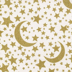 Space Fabric for Children Moon & Stars White