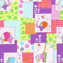 Cute Zoo Childrens Cotton Fabric Animals Remnant