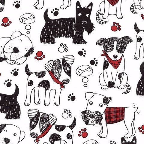 Scribble Dogs Cotton Fabric