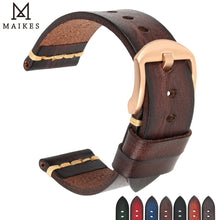 Load image into Gallery viewer, Maikes Genuine Leather Watchband for Galaxy Watch Strap 18mm 20mm 22mm 24mm Watch Band Tissote Timex Omega Wrist Bracelets