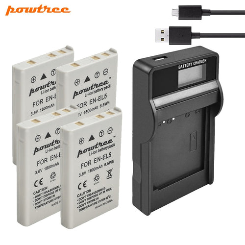 Powtree 1800mAh EN-EL5 Digital Camera Battery+USB Charger for Nikon Coolpix P4 P80 P90 P100 P500 P510 P520 P530 P5000 P5100 L10