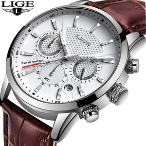 LIGE Mens Watches Gift Top Luxury Brand Waterproof Sport Watch Chronograph Quartz Military Genuine Leather Relogio Masculino