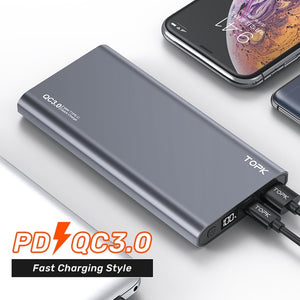 TOPK Power Bank 10000mAh Portable Charger LED External Battery PowerBank PD Two-way Fast Charging PoverBank for iPhone Xiaomi mi