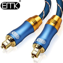 Load image into Gallery viewer, EMK 5.1 Digital Sound SPDIF Optical Cable Toslink Cable Fiber Optical Audio Cable with braided jacket OD6.0 1m 2m 3m 10m 15m