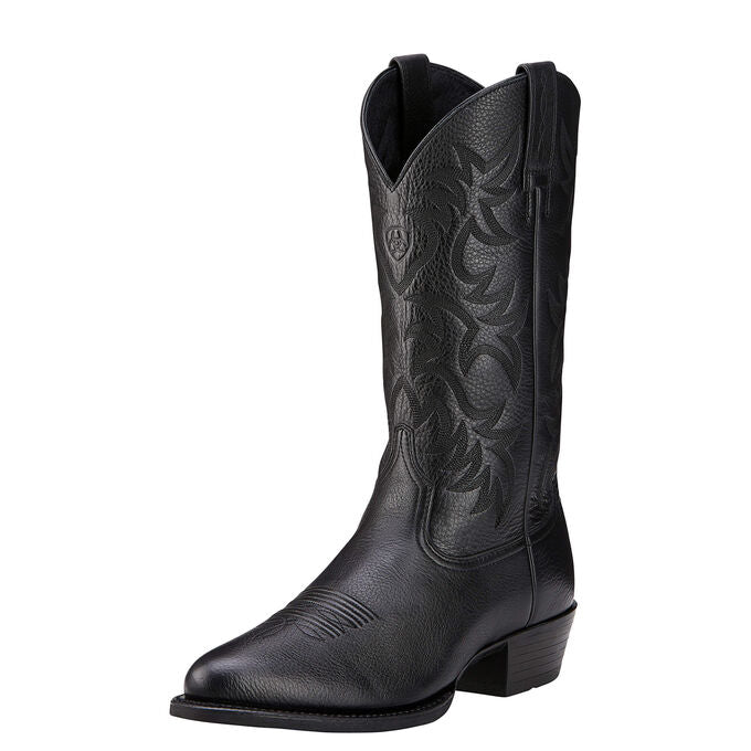 Ariat Men's Heritage Round Toe Western Boot Black Deertan