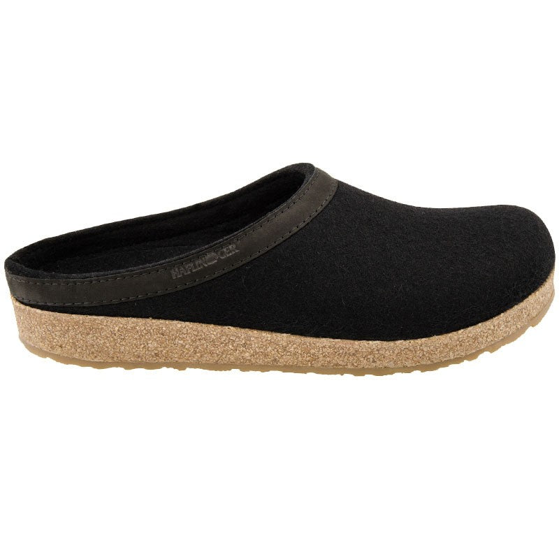 Haflinger Unisex GZL Grizzly Wool Clog Leather Trim Black