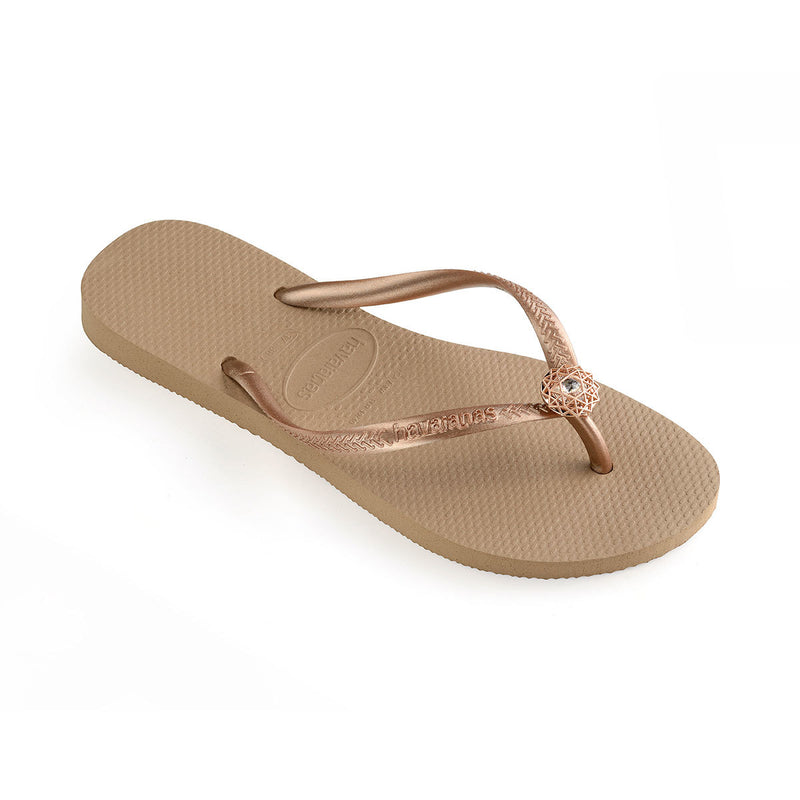 Havaianas Women's Slim Crystal Poem Flip Flops Rose Gold