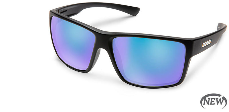 Suncloud Hawthorne Medium Fit Matte Black/Polarized Blue Mirror