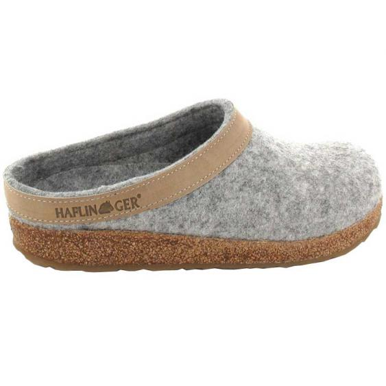 Haflinger Unisex GZL Grizzly Wool Clog Leather Trim Silver Grey