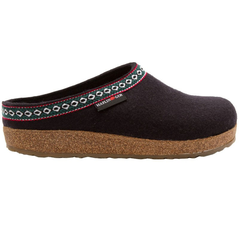 Haflinger Unisex GZ Classic Wool Grizzly Clog Black