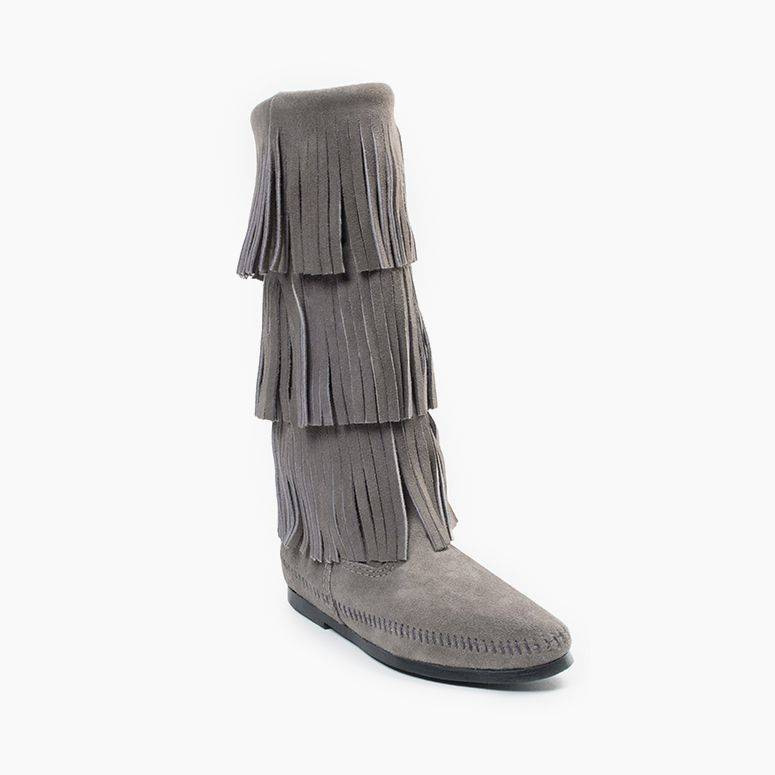 Minnetonka Women's 3 Layer Fringe Boot Grey