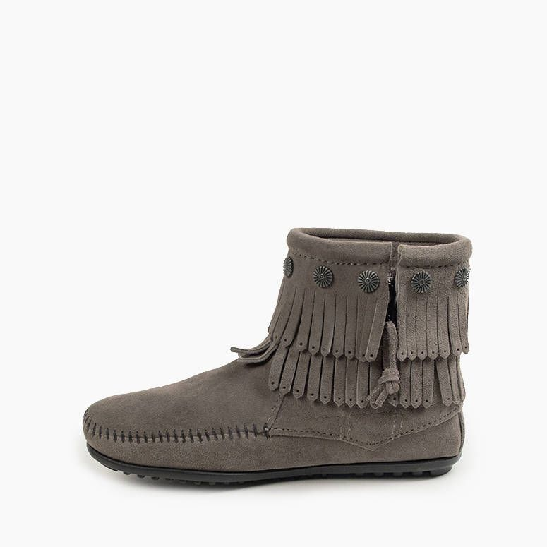 Minnetonka Women's Double Fringe Side Zip Boot Grey