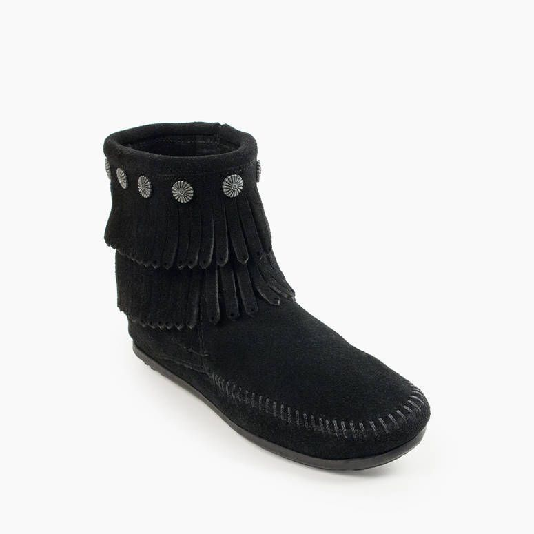 Minnetonka Women's Double Fringe Side Zip Boot Black