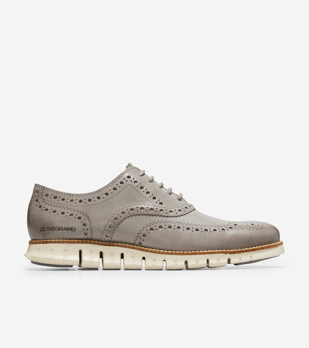 Cole Haan Men's ZerøGrand Wingtip Oxford Ironstone Leather/Ivory