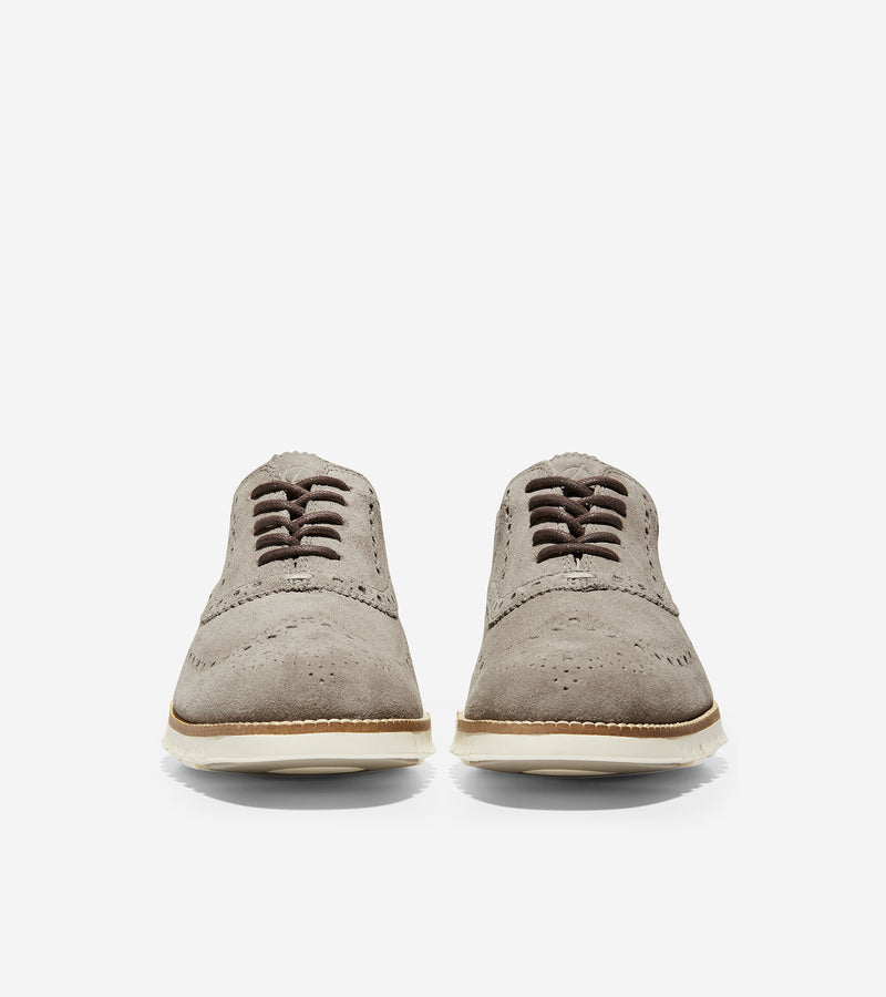 Cole Haan Men's ZerøGrand Wingtip Oxford Gray Suede