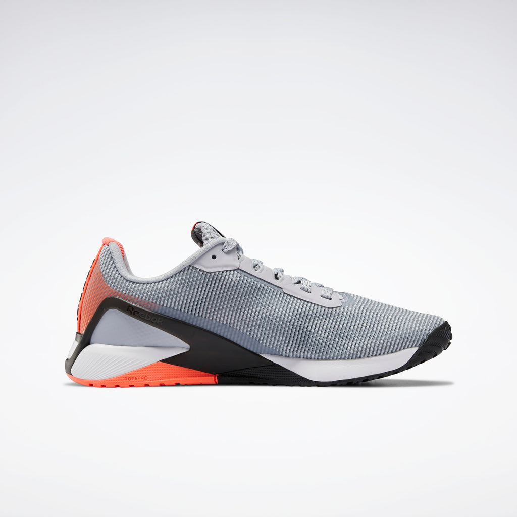 Reebok Men's Nano X1 GRIT Cross Trainer - Cold Grey 2 / Core Black / Orange Flare