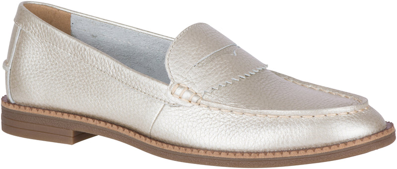 Sperry Women's Waypoint Leather Penny Loafer Platinum