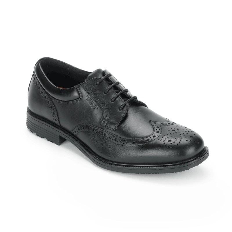 Rockport Men's Essential Details Waterproof Wingtip Black Medium Width