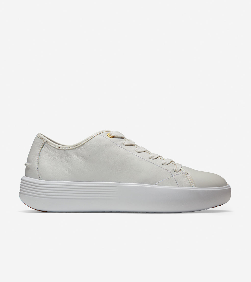 Cole Haan Women's Grand Crosscourt Flatform Lace-Up Optic White Leather