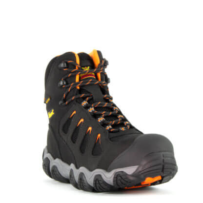 Thorogood Men's Crosstrex Series – Waterproof – 6″ Black Safety Toe Hiker Black/Orange