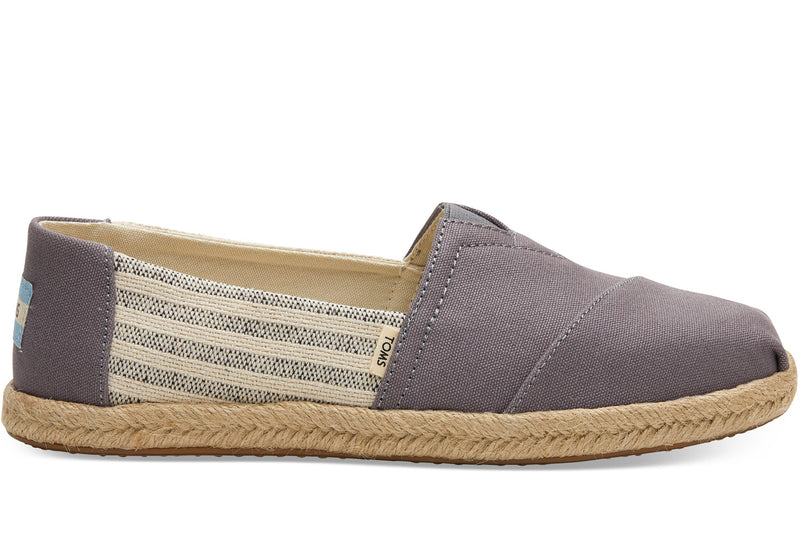 Toms Grey Canvas Striped Women's Espadrilles